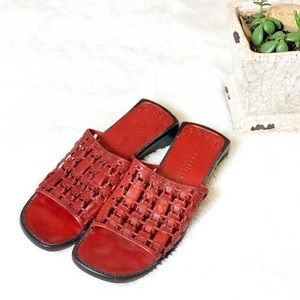 Cole Haan Country Red Leather Sandal Slides 8AA